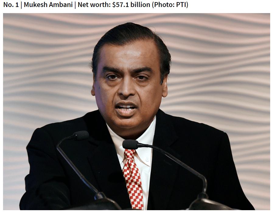 Mukesh Ambani | Net worth: $57.1 billion