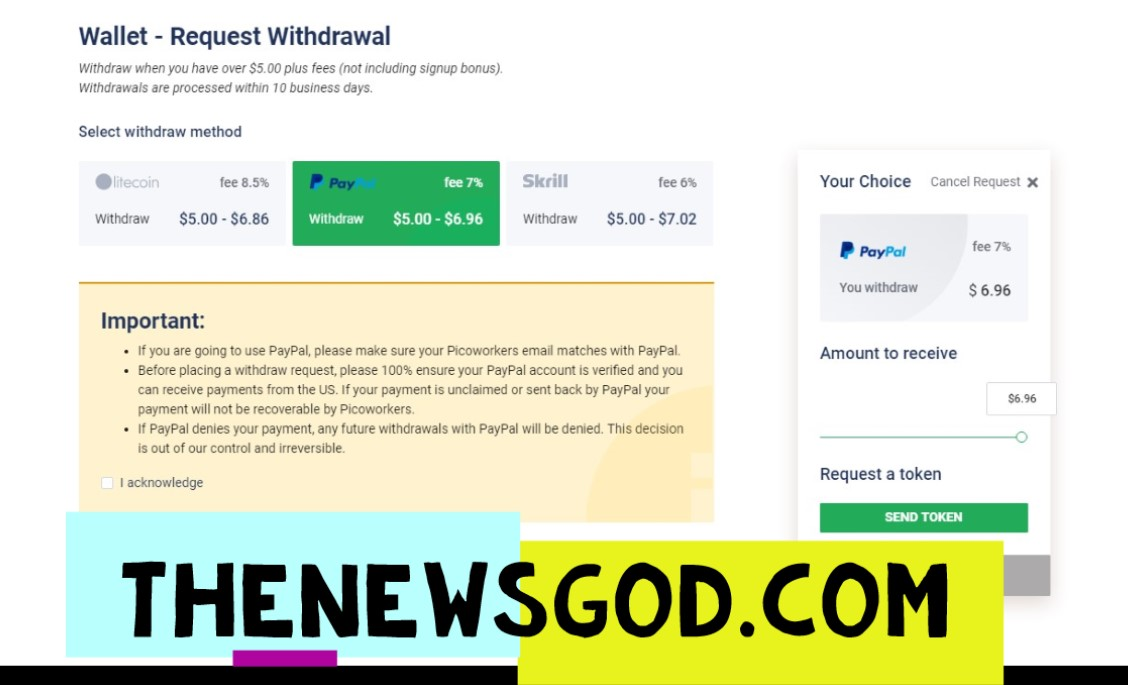 How to Withdraw Money from Picoworkers?